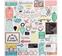Чипборд из коллекции «HERE & THERE» от Creat Paper (12х12 дюймов, 48 элементов с фольгированием цвета Розовое золото)