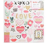 Чипборд из коллекции «HEART DAY» от Creat Paper (12х12 дюймов, 44 элемента с золотыми глиттерными акцентами)