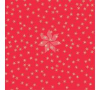 Односторонний лист красный с золотыми фольгированными звездами из коллекции «FALALA» от Creat Paper