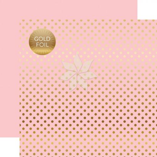 Двусторонний фольгированный лист 30х30 Gold Foil DOTS Pink от Echo Park