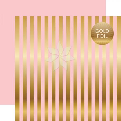 Двусторонний фольгированный лист 30х30 Gold Foil STRIPE Pink от Echo Park