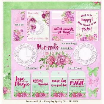 Двусторонний лист с карточками 30х30 «04» из коллекции «Everyday Spring» от Lemon Crafts