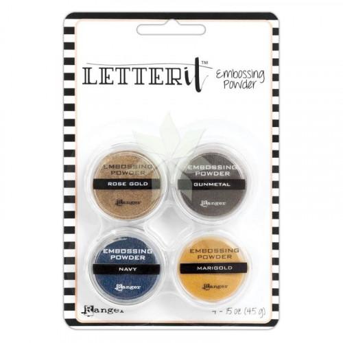 Набор мини-пудр для эмбоссинга LETTERIt METALLIC (ROSE GOLD, NAVY, GUNMETAL, MARIGOLD) от RANGER